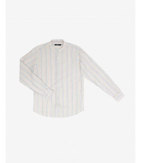 Camicia collo coreano a righe colorate