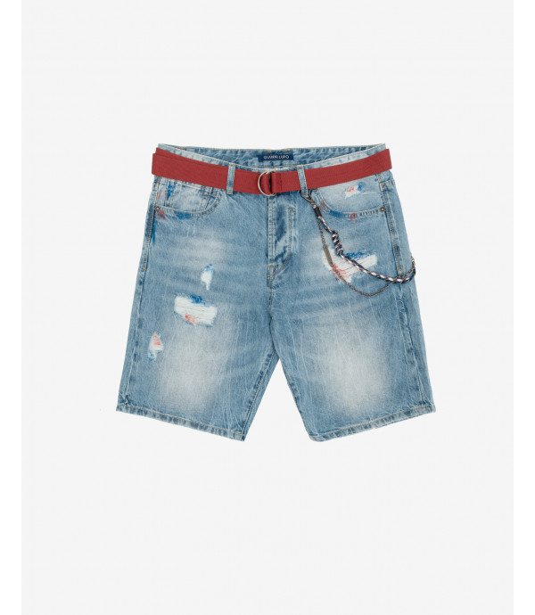 Jeans shorts with paint stains
