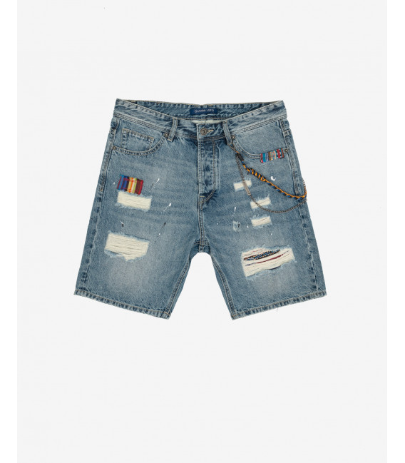 Jeans shorts with folk patches