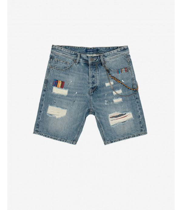 More about Jeans shorts with folk patches