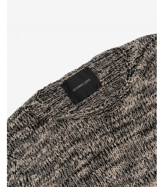 Distressed melange sweater