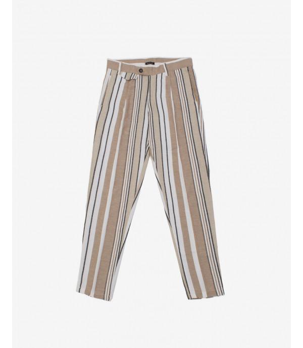Pantalone misto lino a righe