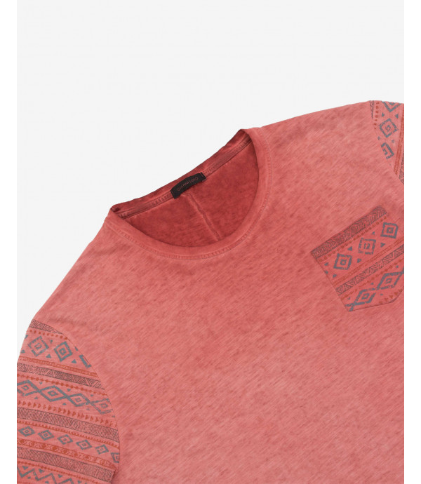 Aztec print T-shirt with pocket