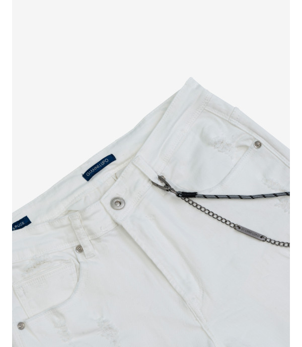Bruce white regular fit jeans with rips