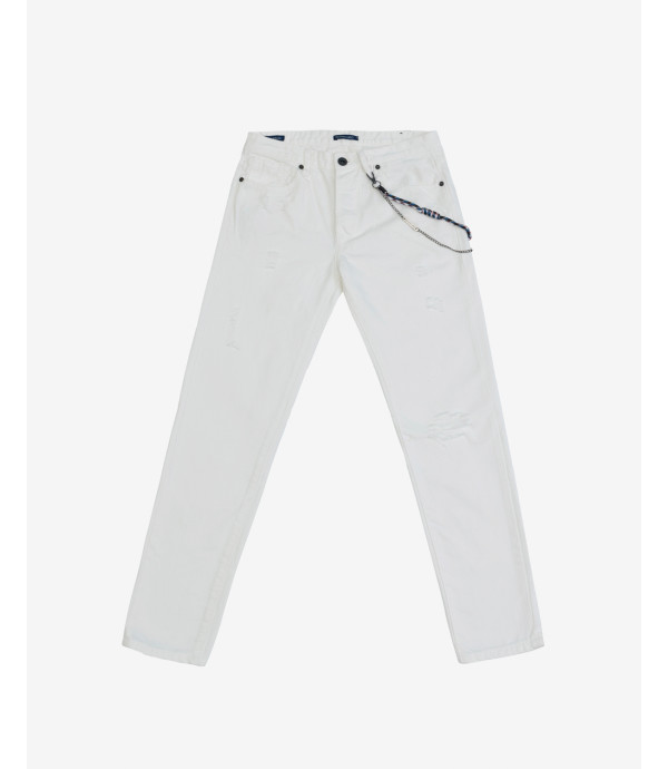 Jeans Mike carrot cropped fit con strappi