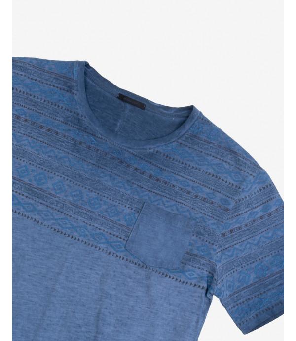 T-shirt stampa Aztec con taschino
