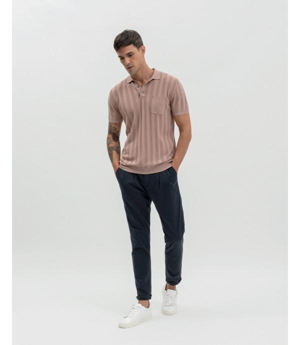Polo shirt with vertical seethrough stripes