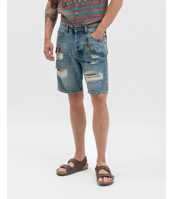 Bermuda jeans con patch folk