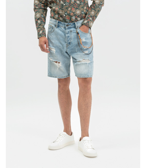 Light wash denim shorts with rips