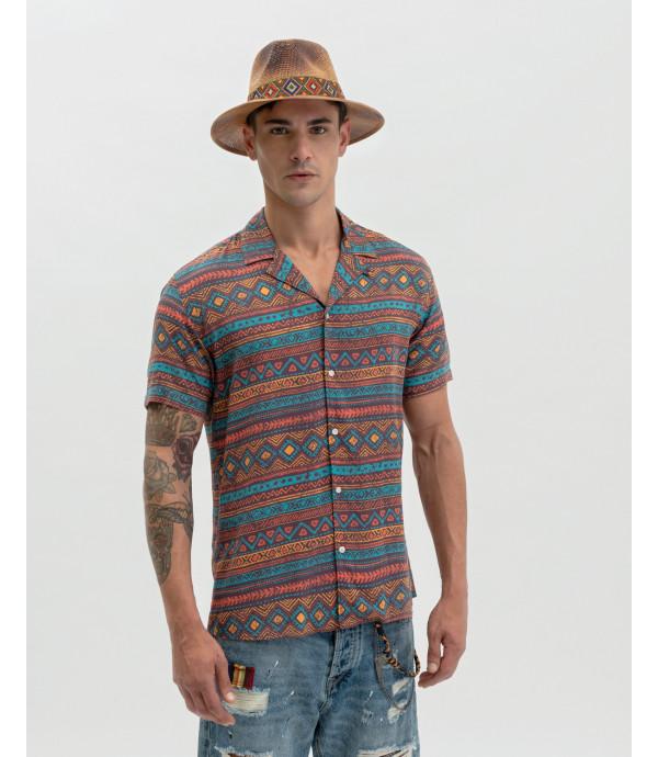 Aztec patterned Hawaiian shirt