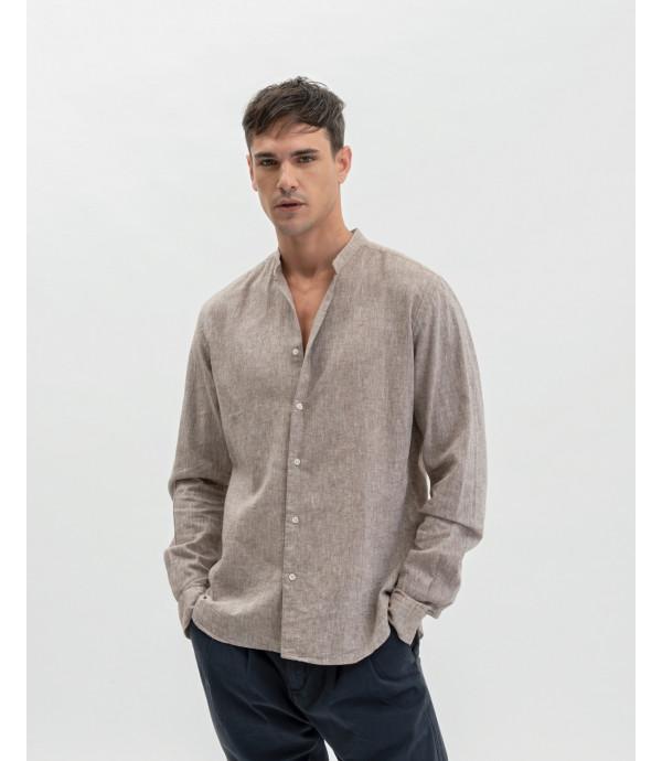 Mandarin collar linen mix shirt