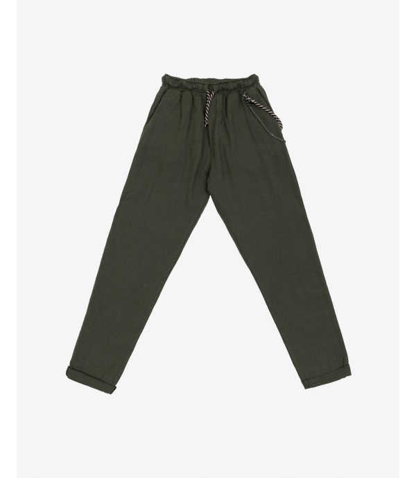 Drawstring trousers in linen