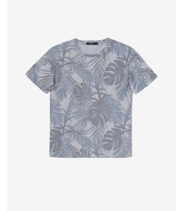 Linen T-shirt with leaves print