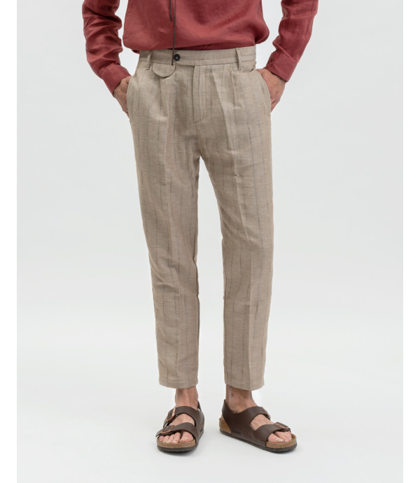 Linen mix striped trousers