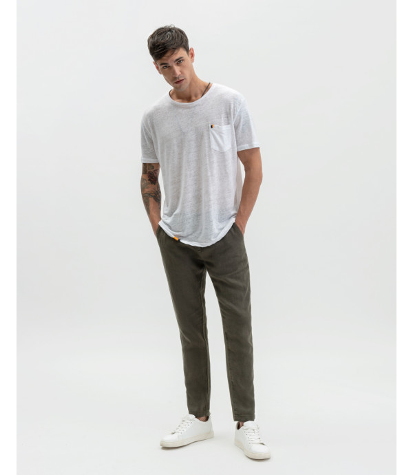Linen trousers with drawstring