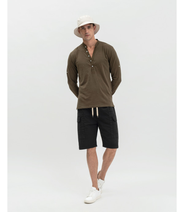 Drawstring cargo shorts in papertouch cotton