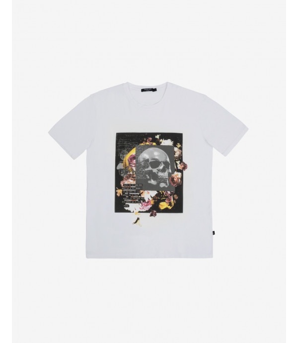 T-shirt stampa skull & flowers