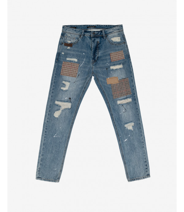 Bruce regular jeans with paint droplets, rips and patches