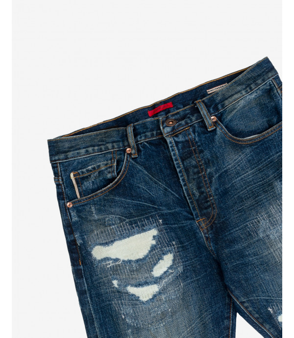 Mike95 carrot cropped jeans dark wash with stitches, rips and whiskers