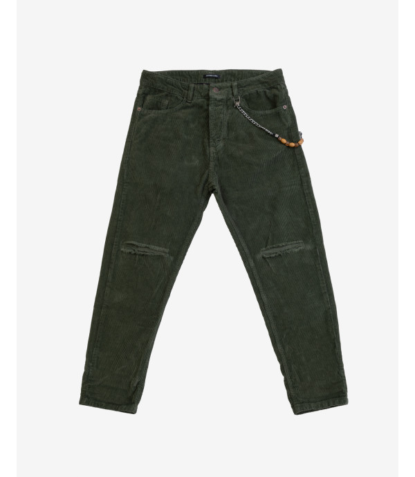 Corduroy trousers with knee rip in green
