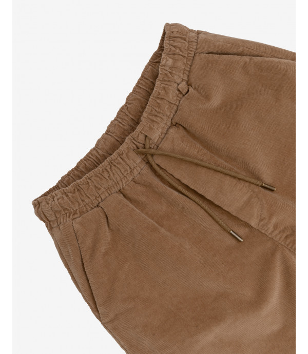 Drawstring trousers in corduroy khaki