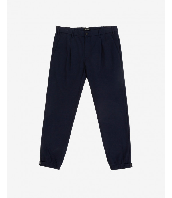Tech fabric trousers with cuffs