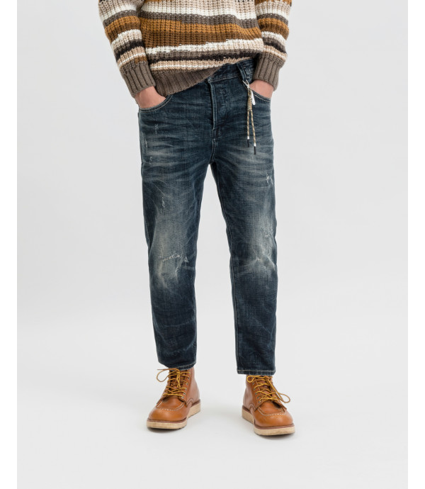 Mike carrot cropped jeans dark wash with whiskers