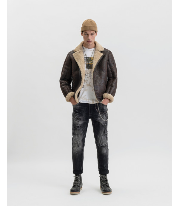 Bruce regular jeans in black with rips and decolouration