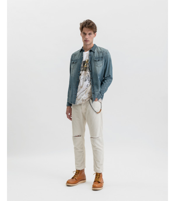 Corduroy trousers with knee rip in butter