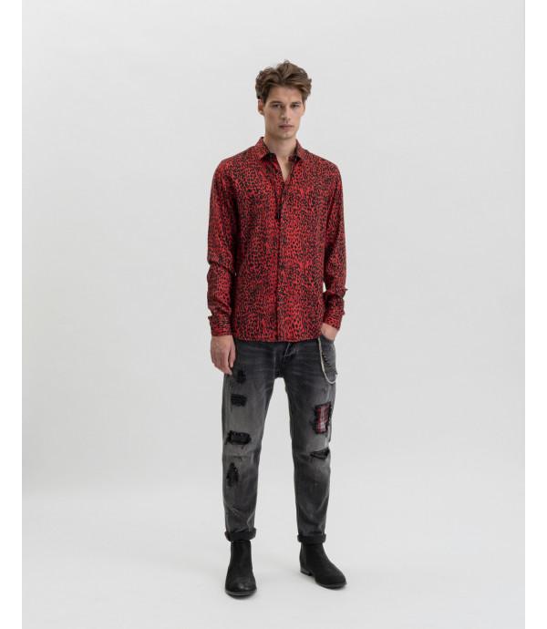 Camicia leopardata rossa in viscosa