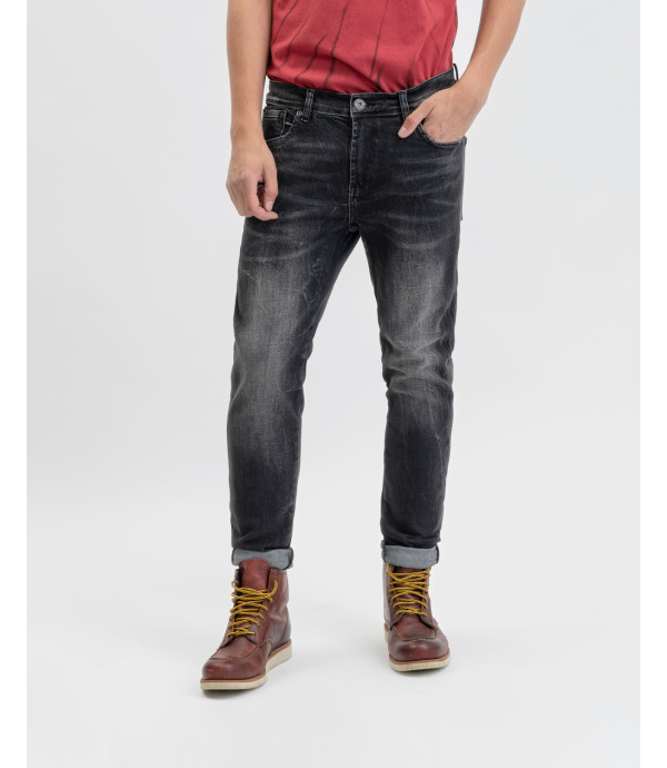 Steve super skinny jeans in black with whiskers and decolouration
