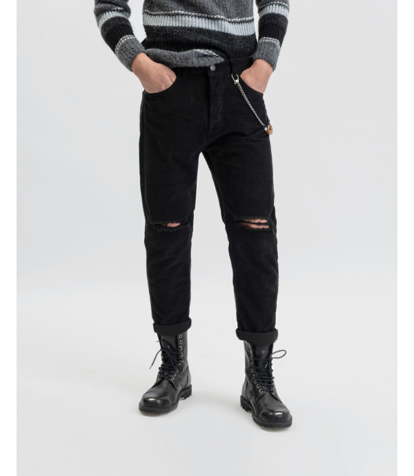 Corduroy trousers with knee rip in black