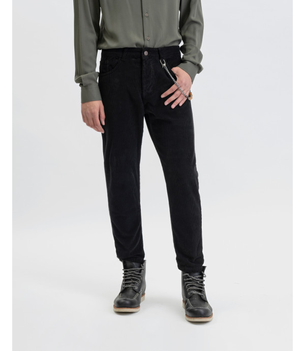 Corduroy trousers in black