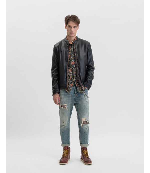 Mike carrot cropped jeans with rips and patches