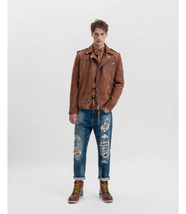 Mike carrot cropped jeans with paint droplets, rips and patches