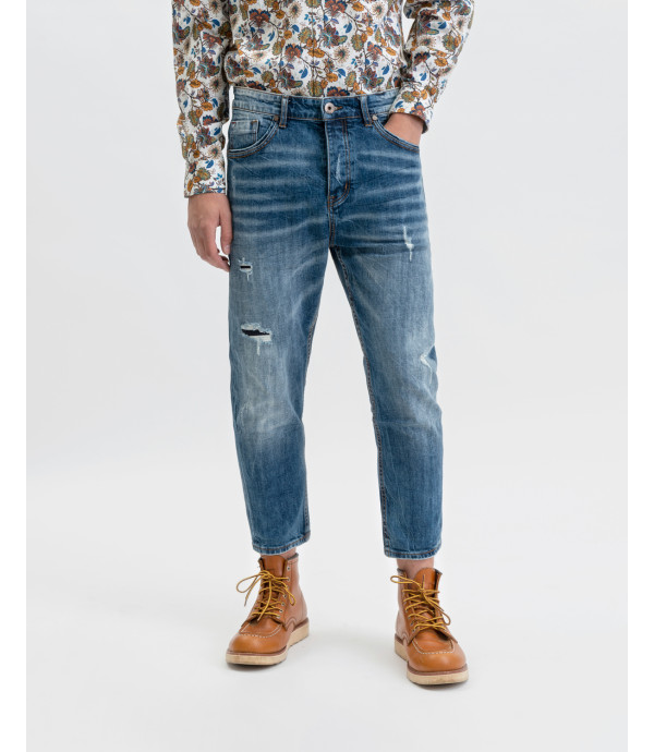Bruce regular jeans medium wash with rips and whiskers