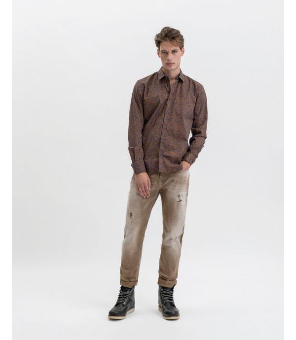 Camicia in cotone stretch fantasia cashmere