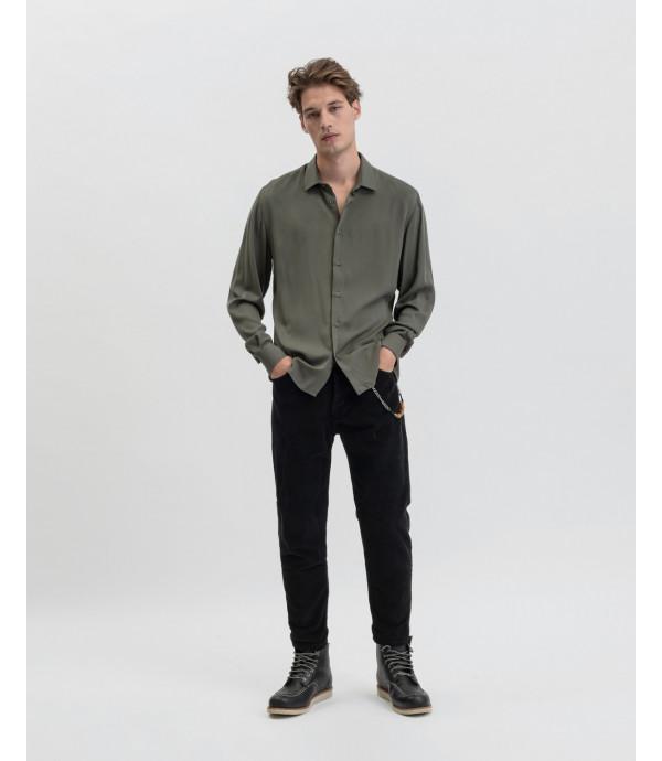Camicia in viscosa verde militare