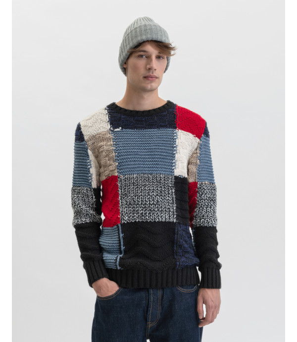 Maglione patchwork misto lana