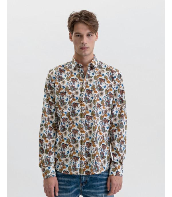 Camicia cotone stretch in fantasia a pois