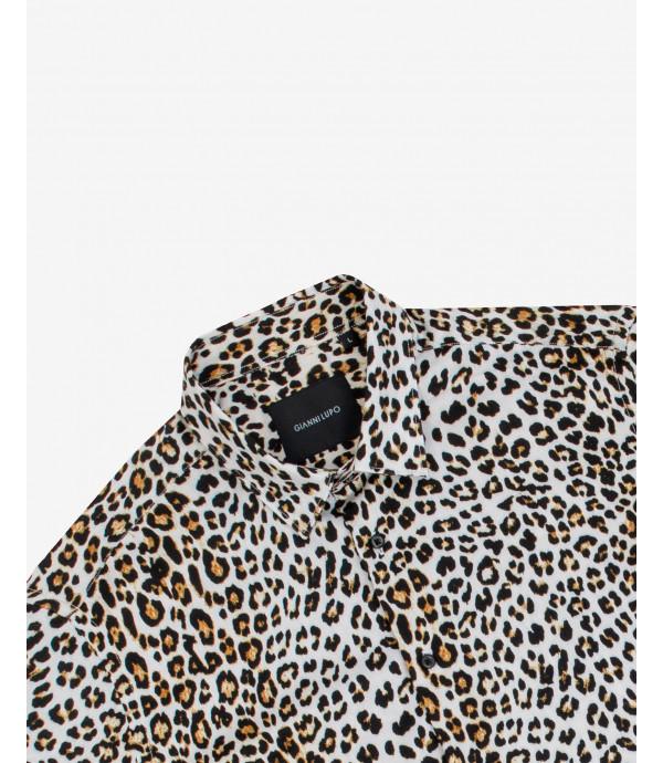Camicia in viscosa stampa leopardata