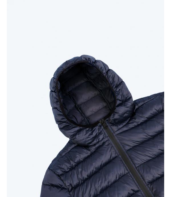 Piumino 100 grammi con cappuccio basico blu scuro