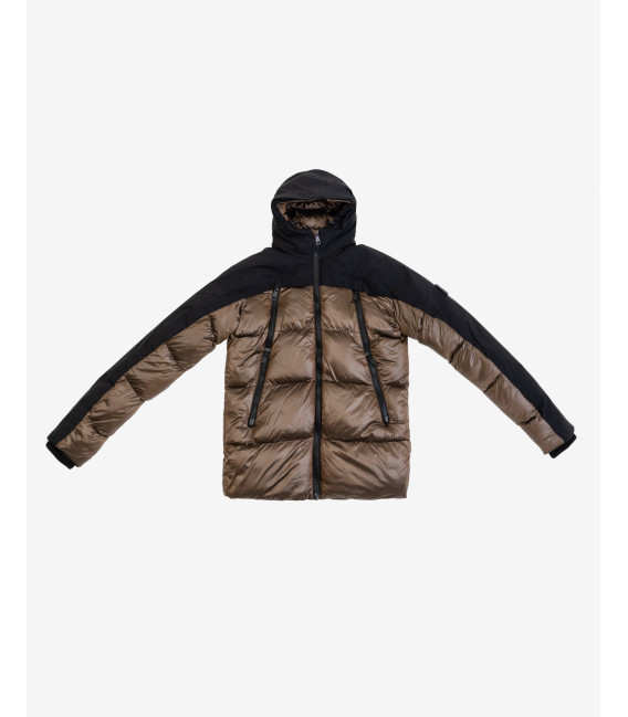 Hooded puffer jacket in bronze