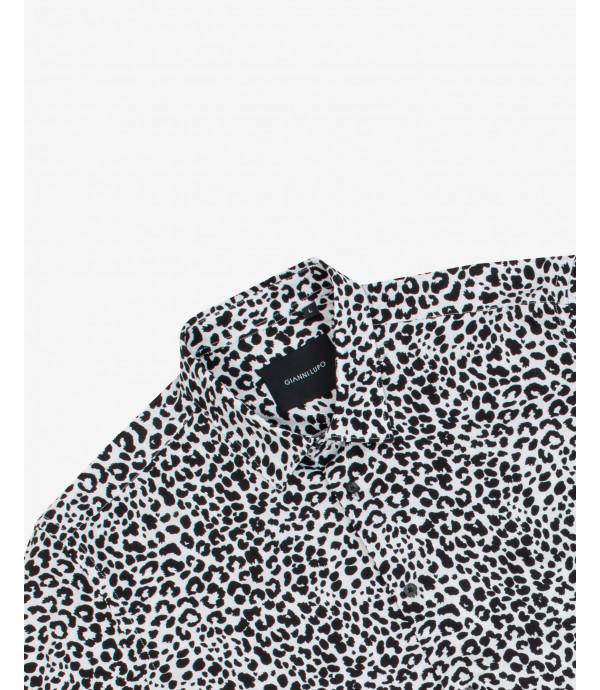 Camicia in viscosa leopardata