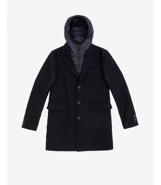 Coat with detachable front padding