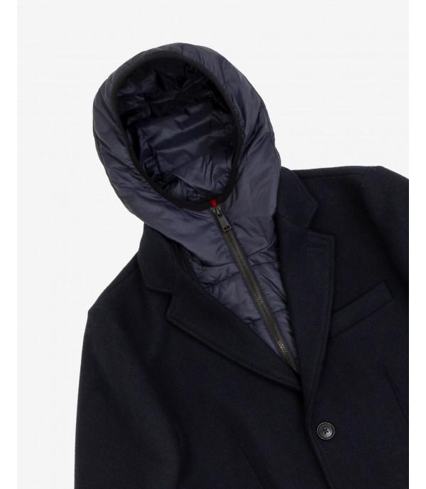 Cappotto in panno con pettorina interna rimovibile