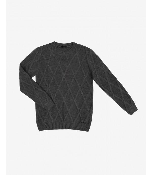 Maglione con lavorazioni in misto lana
