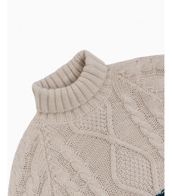 Cable knit two colour sweater petrol