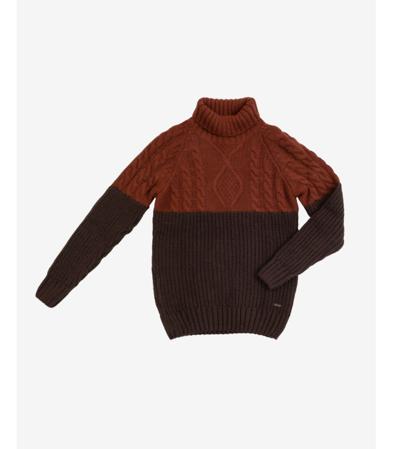 Cable knit two colour sweater coffee