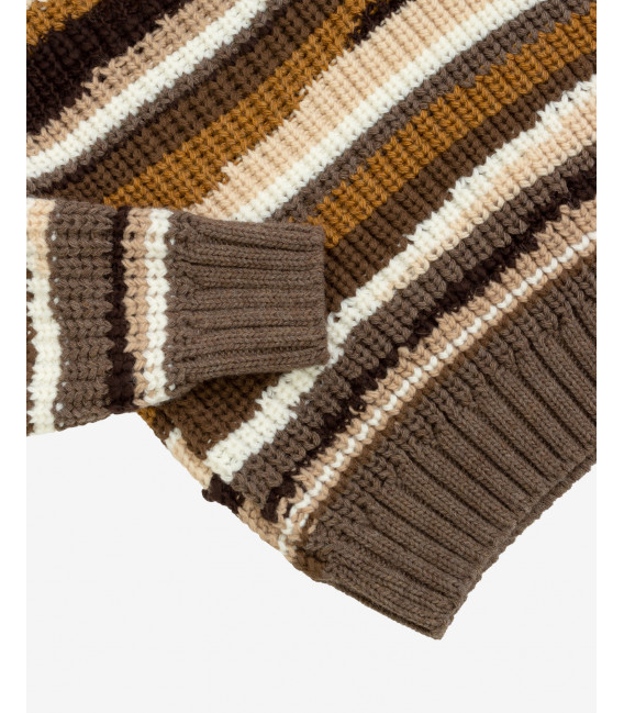 Turtleneck with intarsia in brown